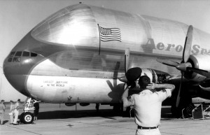 "Clay Lacy piloted the ""Pregnant Guppy"" on its first flight in 1962. At that time, the aircraft was considered the world's largest airplane."