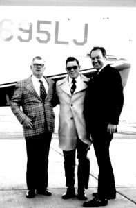 "Above: Jack Conroy, Clay Lacy and Al Paulson during an interview after the first flight of Aero Spacelines' ""Pregnant Guppy."""