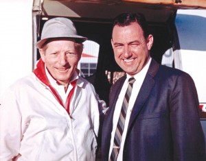 Actor Danny Kaye, co-owner of Pacific Lear Jet, with Clay Lacy.