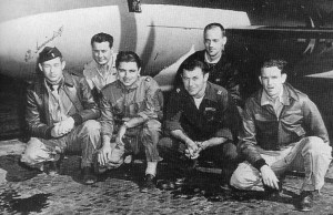 The X-1 team included, from left, flight engineer Ed Swindell, backup pilot Bob Hoover, B-29 pilot Bob Cardinas, pilot Chuck Yeager, Bell engineer Dick Frost and Air Force engineer Jack Ridley.