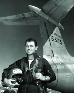 Major Chuck Yeager in front of the XB-51.