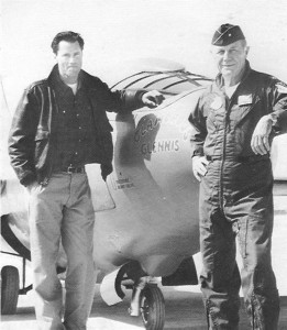 "General Chuck Yeager advises Sam Shepard during filming of ""The Right Stuff."""