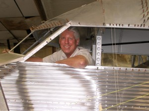 Greg Herrick in his 1927 4-AT Tri-Motor. The first 4-AT (Air Transport) made its maiden flight on June 11, 1926. Herrick found this rare vintage aircraft on a rancher's farm in Idaho.