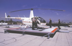 Frank Robinson (inset) landed the first approved and permitted Robinson Helipad on the Honda dealership in Santa Ana, Calif; the pad is 20 X 20 square feet and designed for choppers with gross weights up to 3,000 lbs.