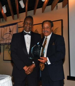 """L to R: Tuskegee Airman Col. Fitzroy """"Buck"""" Newsum (ret.) with Ed. Dwight Jr., who was on hand to congratulate award recipients."""