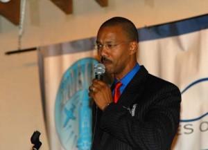 Keynote speaker John Cruzat of the Colorado Springs Urban League challenges audience members to encourage diversity in the aerospace industry.