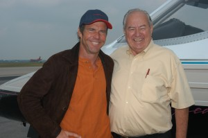 Dennis Quaid and Clay Lacy, at Dayton International Airport, before the flight back to Bozeman, Mont. Lacy helped cure Quaid of his fear of small aircraft in the early 1980s, with a thrilling Learjet flight over the Mojave Desert.