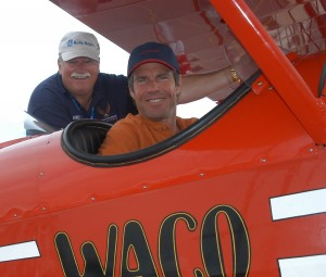 While visiting the 2004 Vectren Dayton Air Show, Dennis Quaid stopped to admire Alan Hoeweler's 1928 Waco ATO, which won the Orville and Wilbur Wright Trophy at the 2004 Rolls-Royce National Aviation Heritage Invitational/Eastern Regional.