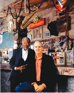 "Morgan Freeman and Bill Luckett inside Ground Zero Blues Club, which offers ""a true Delta Blues experience at its best."""