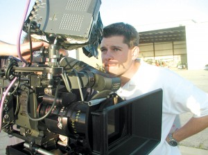 "Brian J. Terwilliger, producer/director of ""One Six Right,"" sets up for filming with Panavision's high-definition state-of-the-art movie camera."