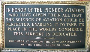 "Originally called ""Los Angeles Metropolitan Airport,"" this is the dedication plaque presented on December 17, 1928 at what is now ""Van Nuys Airport."""