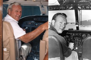 Arnold Palmer acquired his first jet, a Jet Commander, in 1966, and took possession of his first Citation X in 1996. He's shown in the cockpit of both.