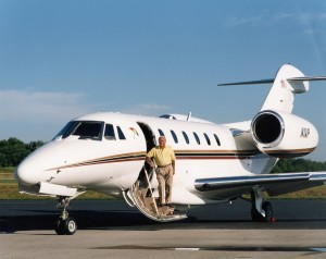 Arnold Palmer with his first Citation X, in the mid-1990s.