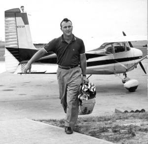 Arnold Palmer at Latrobe Airport with a rented Cessna 172, in his early flying days.