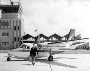 Arnold Palmer with his Aero Commander in the early 1960s, at Latrobe Airport.