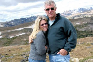 Lee Lauderback and his fiancée, Angela West, vacationing in Wyoming. At Stallion 51, West oversees special events/marketing.