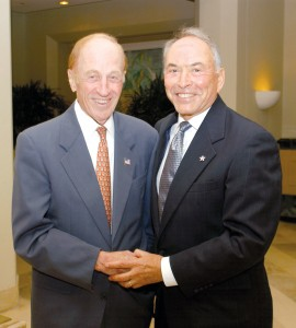 FlightSafety International Founder Al Ueltschi poses with Murray Smith during the 2003 NBAA convention in Orlando, Fla.