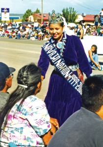 Miss Navajo Nation greets well wishers at the fair parade.