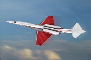 Aerion's product is designed to fly subsonically over land. The aircraft's 90,000-pound design utilizes a thin, unswept leading edge wing and T-tail to achieve natural laminar flow at a Mach 1.5 maximum range cruise.