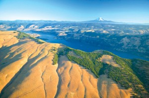 "The Columbia River Gorge, with Oregon's Mt. Hood on the horizon, is typical of the panoramic scenes in ""Chasing Lewis & Clark."""