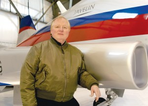 Dave Liniger, shown with the Javelin mock-up, is number three on the delivery schedule for Aviation Technology Group's new sport jet.
