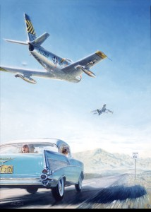 A flight of two F-86 Sabres buzz a 1957 Chevy Belair along Route 66.