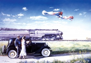 A couple beside a 1932 Ford Victoria watches as two Gee Bees en route to the National Air Races, held during the 1930s in Cleveland, Ohio, fly along the NYC Twentieth Century Limited.