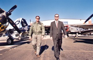 Long Island Jet Center CEO Bill McShane (right) in front of Republic Airport's American Air Power Museum.