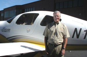 "Bing Lantis, president and CEO of The Lancair Company, loves flying ""Big Bird,"" the Columbia 400, which was recently certified by the FAA."