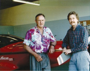 Actor Gene Hackman and Lance A. Neibauer, founder of The Lancair Company, have some laughs together.