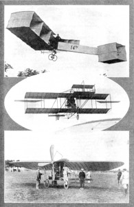 Top: Miracle of Flight! The Santos Dumont biplane (box kite) of 1906. Center: This Curtiss biplane of 1909 won the First Gordon Bennett International Race at a speed of 48 miles per hour! Bottom: A rare photograph of the Bleriot monoplane (1909).