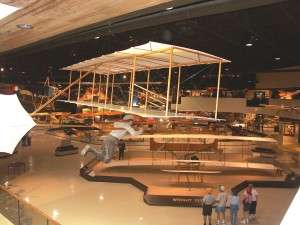 Greeting visitors on the main floor is a replica of the 1903 Wright Flyer built by students at the Blackhawk Technical Institute, in Janesville, Ohio, in 1978.