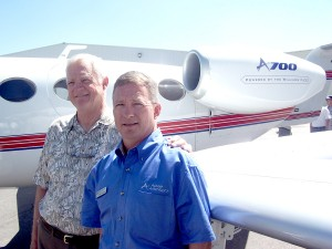 Pat and Tom Wiesner, in front of the A700, at the 2004 Centennial Business Aircraft & Jet Preview.