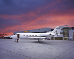 A Gulfstream III in front of the company's headquarters at Camarillo Airport.