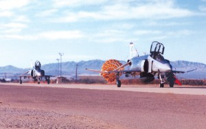 F-4 Phantoms from the recently inactivated 20th Fighter Squadron taxi into the Aerospace Maintenance and Regeneration Center, after making their last flight from Holloman AFB, N.M., to Davis-Monthan AFB in Tucson.