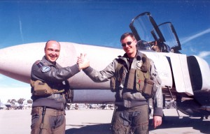 German Captain Martin Brendjes and his WISO Stan Reinders congratulate each other with a thumbs-up handshake following the completion of their final mission.