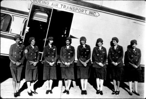 Flight attendants, all registered nurses, provided safety and passenger comfort on the early Boeing Air Transport flights.
