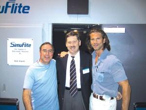 Bob Crystal, Robert Sharp and Lorenzo Lamas, at SimuFlite two years ago, when Lamas got his Ce-500 type rating.
