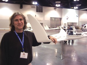 Professor Mark Maughmer shows his newly developed winglet design for the Schempp-Hirth Discus 2c advanced sailplane that has been recently flown by Helmut Treiber and Tilo Holighaus in Germany.