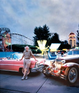 Clive Cussler poses with his 1957 Lincoln Premiere convertible and rare 1930 Cord L-29 town car at Denver's Lakeside Amusement Park.