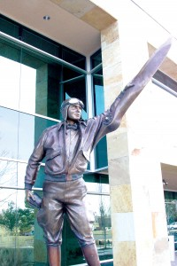 This statue in front of Jeppesen's headquarters, created by sculptor George W. Lundeen, is a companion to one at the Jeppesen Terminal at Denver International Airport.