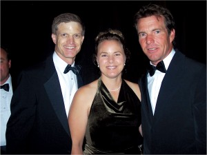 Ron and Jennifer Kaplan with Dennis Quaid, master of ceremonies for the 2004 National Aviation Hall of Fame Enshrinement Ceremony.