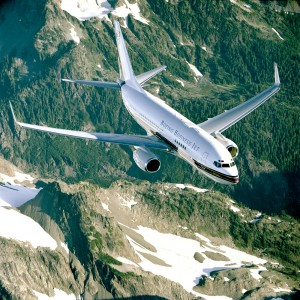 The BBJ cruises at speeds of up to .82 Mach (541 miles per hour) and serves such routes as Los Angeles to London or Paris; New York to Buenos Aires, Argentine; and London to Johannesburg, South Africa.