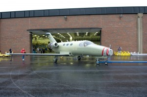 Cessna's new Mustang heads out from the hangar to complete its first engine run on March 22, 2005. The prototype's engines were installed in February. The company expects to achieve engine certification by the end of the year.