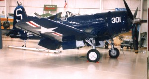 "This Vought FG-1D Corsair, built in 1957 and purchased by Bob Pond for his collection in 1983, carries the markings of the carrier ""USS Essex."""