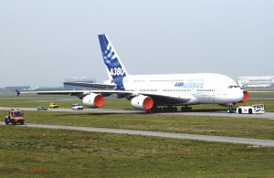 With a little help, the first A380 is en route to Airbus' flight test center at Toulouse-Blagnac International Airport.