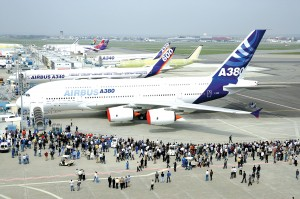 "Sporting Airbus' new livery and customer logos, the A380, before its launch, was simply ""project A3XX."""