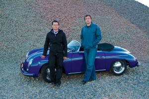 L to R: Eric Shimp and Luke Richards with one of their Porsche 356 Speedster reproductions.