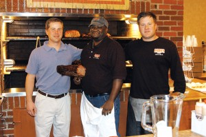 "The owner's of the Bono's Pit Bar-B-Q in Centennial are Jason (L) and Alex (R) Liesegang. In the center is the pit boss, Anthony ""Easy"" Hardy."