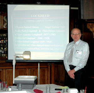 Allan Lockheed Jr. presented a talk on aviation pioneers Allan and Malcolm Lockheed.